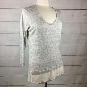Express Layered Chiffon Sweater Gray Cream L